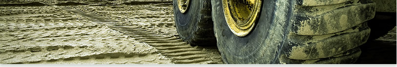 big truck tires cover with sand